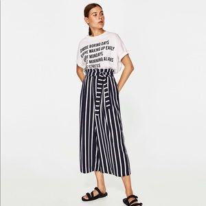 Striped Culottes with Side Tie
